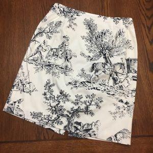 Talbots • Toile Scenic Print Cotton Skirt -Vintage